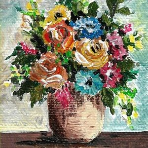 Acrylic Hand Painted Flowers